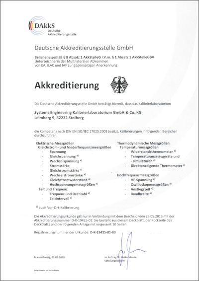 Certificat of accredition and technical annexe